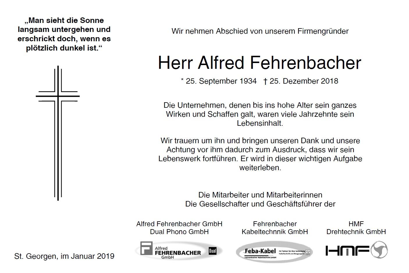 Traueranzeige Alfred Fehrenbacher
